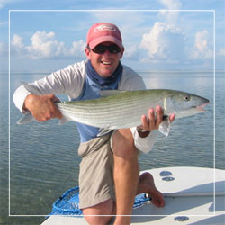 Captain Drew holds a huge Islamorada bonefish